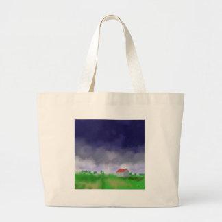 Rain with Barn Art Large Tote Bag