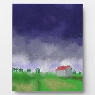 Rain with Barn Art Plaque