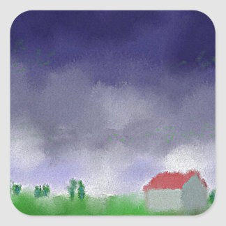 Rain with Barn Art Square Sticker