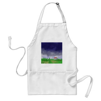 Rain with Barn Art Standard Apron
