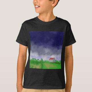 Rain with Barn Art T-Shirt