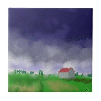Rain with Barn Art Tile
