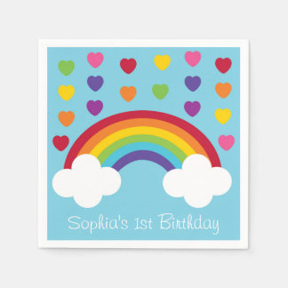 Rainbow 1st Birthday Paper Napkins