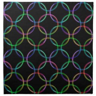 Rainbow 3D interlocking rings + your ideas Printed Napkin