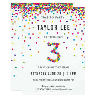 Rainbow 3rd Birthday Party, Third Birthday Card