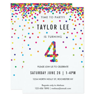 Rainbow 4 Year Old Birthday Party, 4th Bday Card