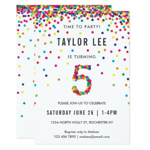 Rainbow 5 Year Old Birthday Party 5th Card