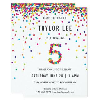 Rainbow 5 Year Old Birthday Party, 5th Birthday Card