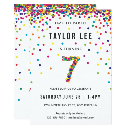 Rainbow 7 Year Old Birthday Party 7th Card