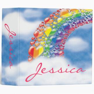 Rainbow 80s Hearts Binder 2 inch