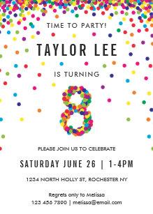 Rainbow 8 Year Old Birthday Party 8th Card