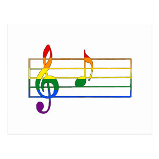 Rainbow 'A' Musical Note Postcard