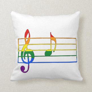 Rainbow 'A' Musical Note Throw Pillow