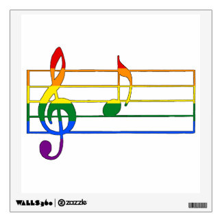 Rainbow 'A' Musical Note Wall Decal