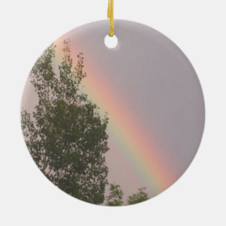 Rainbow Above a Cedar Tree Round Ceramic Ornament