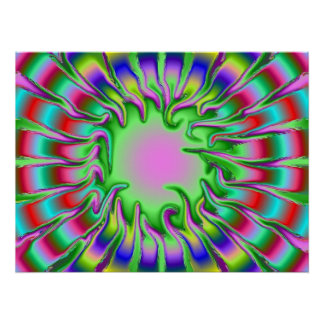 Rainbow Abstract Creepy icicle Graphic Design Frac Poster
