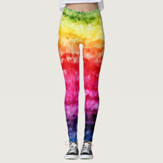 Rainbow abstract digital print leggings