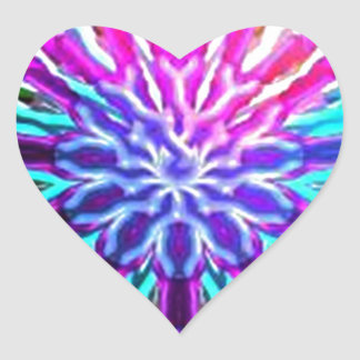Rainbow Abstract Kaleidoscope design Heart Sticker
