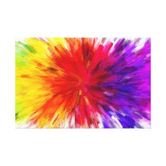 Rainbow Abstract Paint Splash Style Digital Art Canvas Print