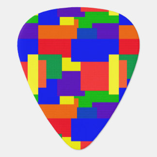 Rainbow Abstract Patchwork Pattern Guitar Pick