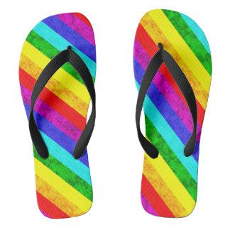 Rainbow abstract pattern flip flops