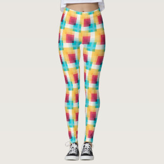 Rainbow Abstract Squares Leggings