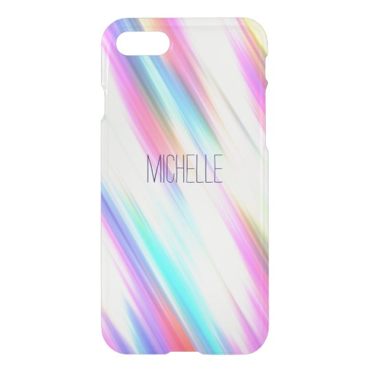 Rainbow Abstract Stripe Brush Strokes with Name iPhone 8/7 Case