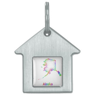 Rainbow Alaska map Pet ID Tags