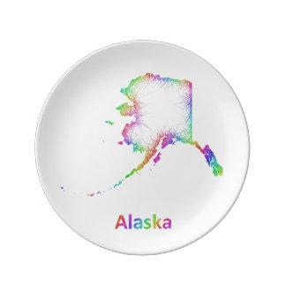 Rainbow Alaska map Porcelain Plates