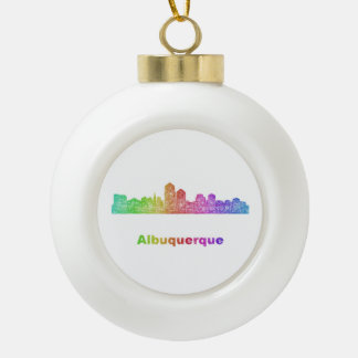 Rainbow Albuquerque skyline Ceramic Ball Ornament