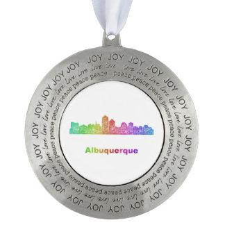 Rainbow Albuquerque skyline Round Pewter Ornament