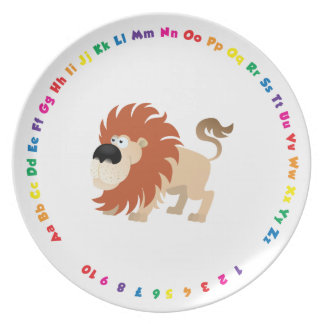 Rainbow Alphabet Plate with Numbers for Toddlers