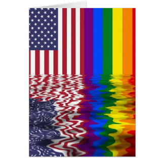 Rainbow American Flag LGBT Support Card