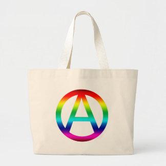 Rainbow Anarchy Symbol Large Tote Bag