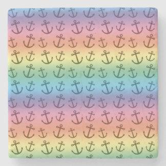 Rainbow anchor pattern stone coaster