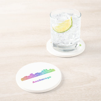 Rainbow Anchorage skyline Beverage Coasters