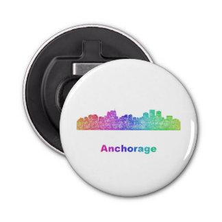 Rainbow Anchorage skyline Button Bottle Opener