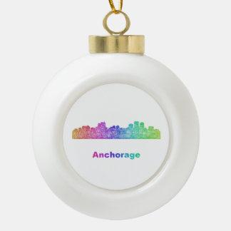 Rainbow Anchorage skyline Ceramic Ball Ornament