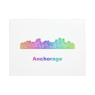 Rainbow Anchorage skyline Doormat
