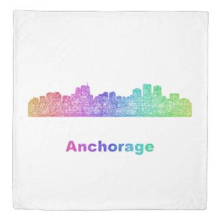 Rainbow Anchorage skyline Duvet Cover