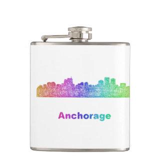 Rainbow Anchorage skyline Hip Flask