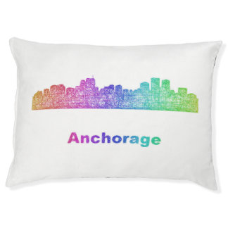 Rainbow Anchorage skyline Large Dog Bed