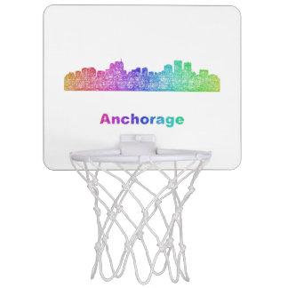 Rainbow Anchorage skyline Mini Basketball Hoop
