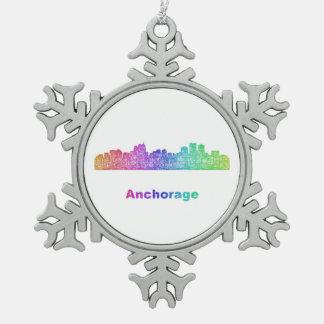 Rainbow Anchorage skyline Pewter Snowflake Ornament