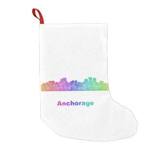 Rainbow Anchorage skyline Small Christmas Stocking