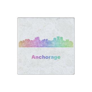 Rainbow Anchorage skyline Stone Magnets