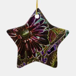 Rainbow and Black Dahlia Ceramic Ornament
