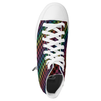Rainbow and black houndstooth high tops