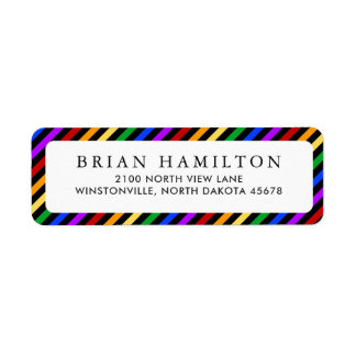 Rainbow and Black Stripes | Return Address