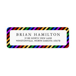 Rainbow and Black Stripes   Return Address Return Address Label